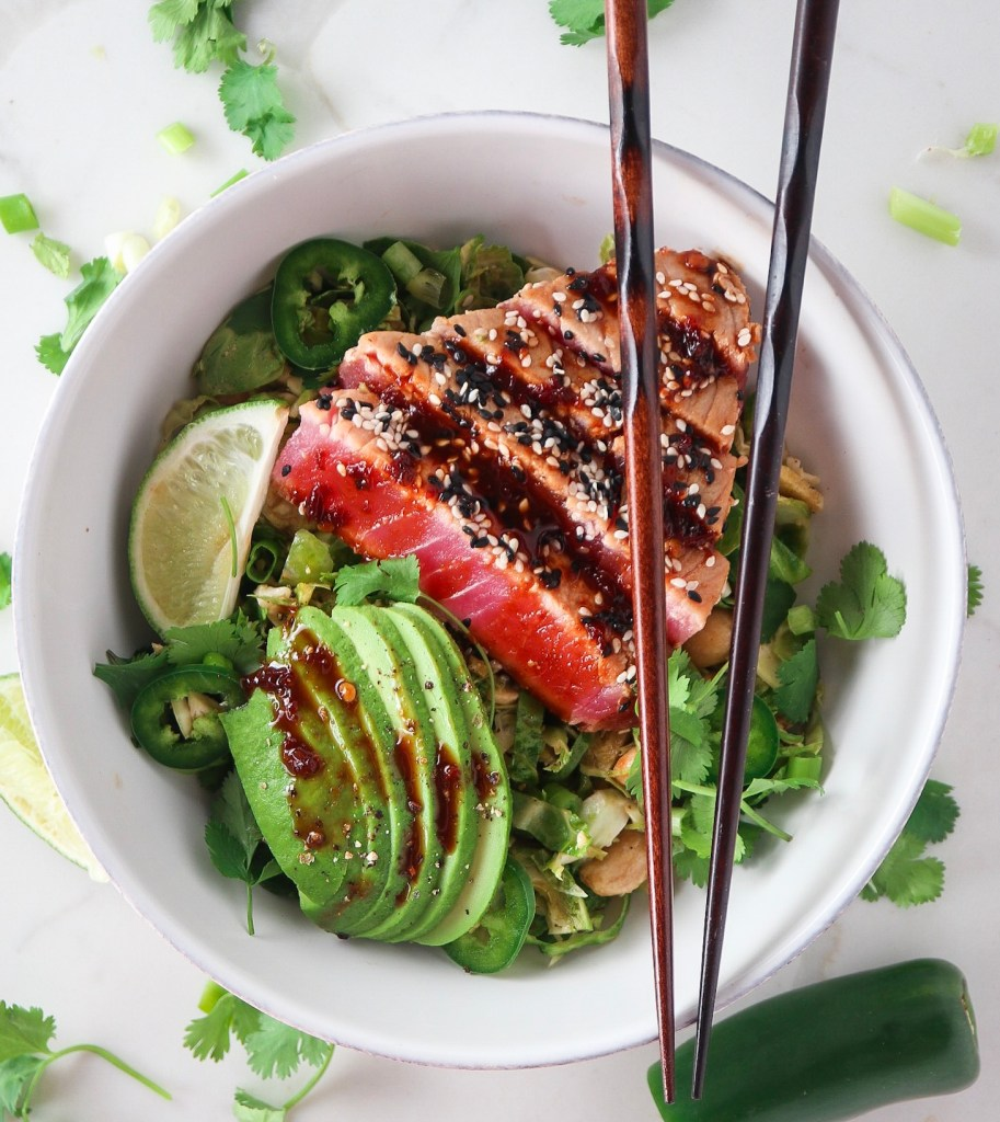 Shredded Brussels Sprouts Salad with Sesame Soy Ahi Tuna
