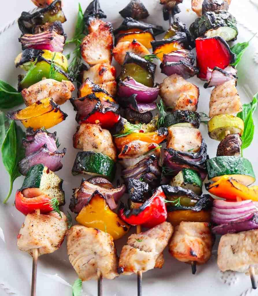 Chicken Kebabs with Lemon Herb Sauce