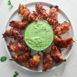Jalepeno Bacon Wrapped Shrimp with Avocado Lime Sauce