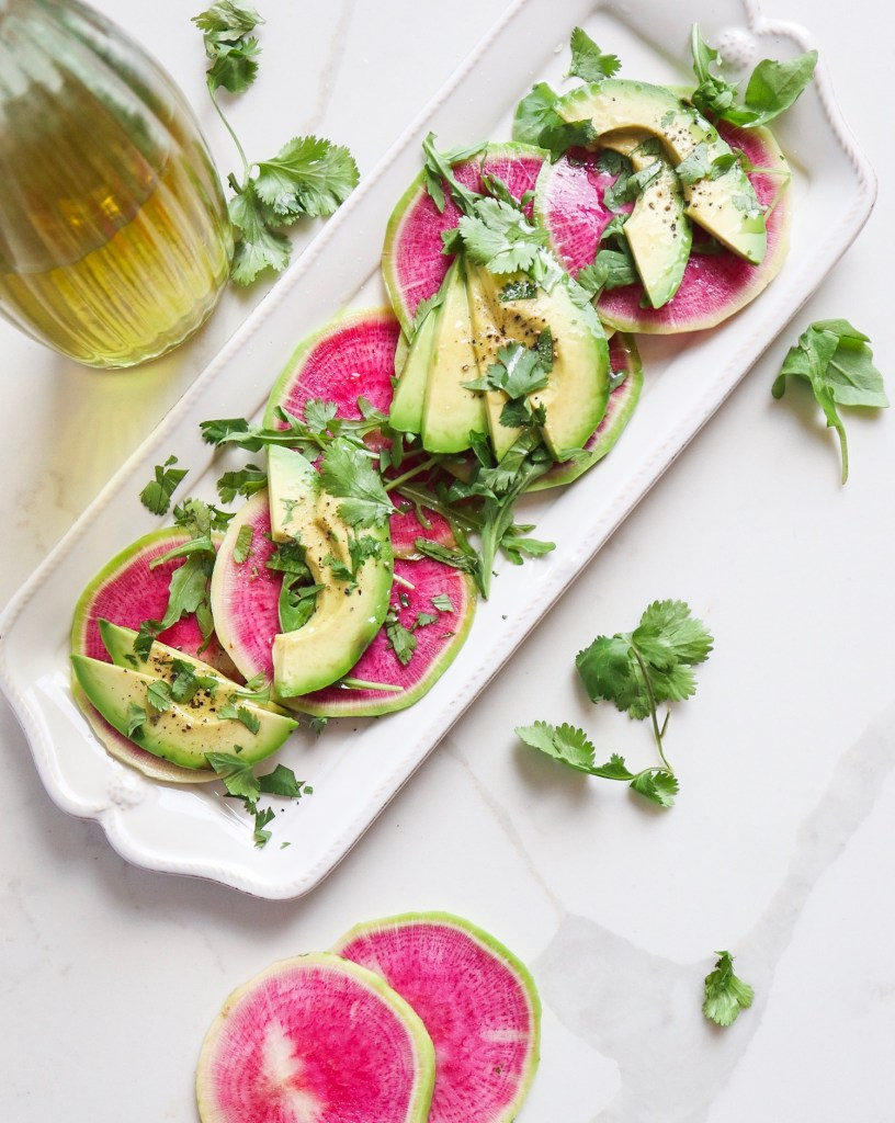 Watermelon Radish and Acvocado Carpaccio