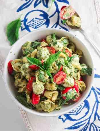 5 Ingredient Pesto Tortellini Pasta Salad