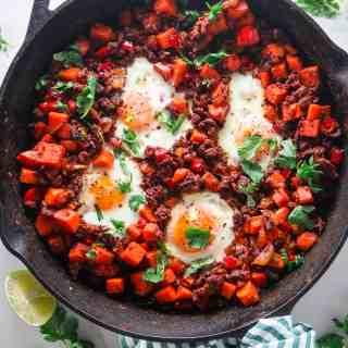 Sweet Potato Chorizo Breakfast Skillet