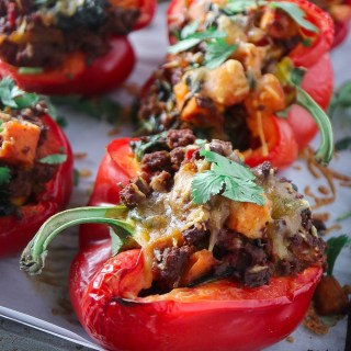 Ground Beef and Sweet Potato Stuffed Bell Peppers