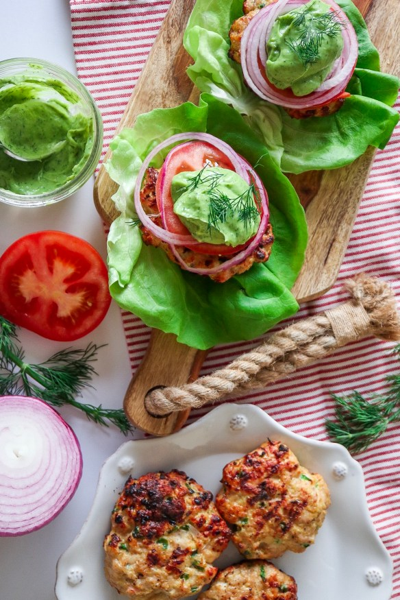 Jelepeno Turkey Burgers with Avocado Dill Sauce