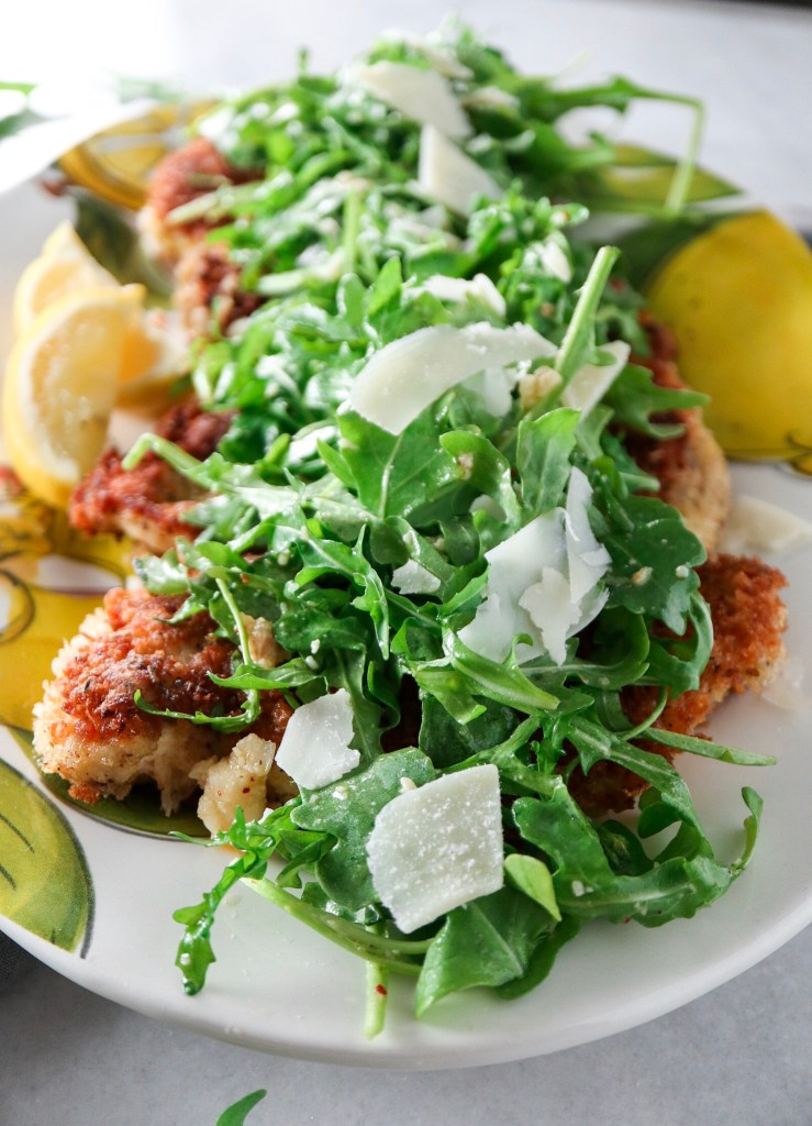 Panko Crusted Chicken with Arugula Salad