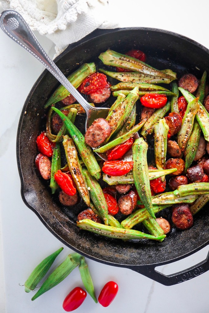 5 Ingredient Chicken Sausage and Okra Skillet