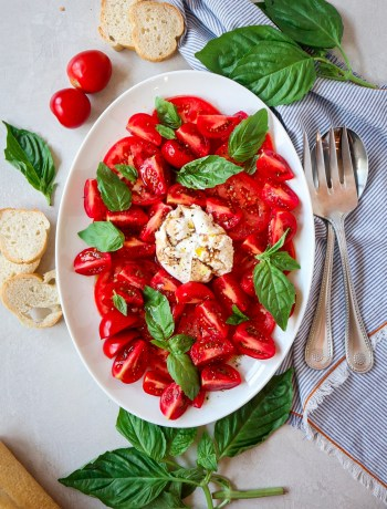 Tomatoes with Burrata and Basil