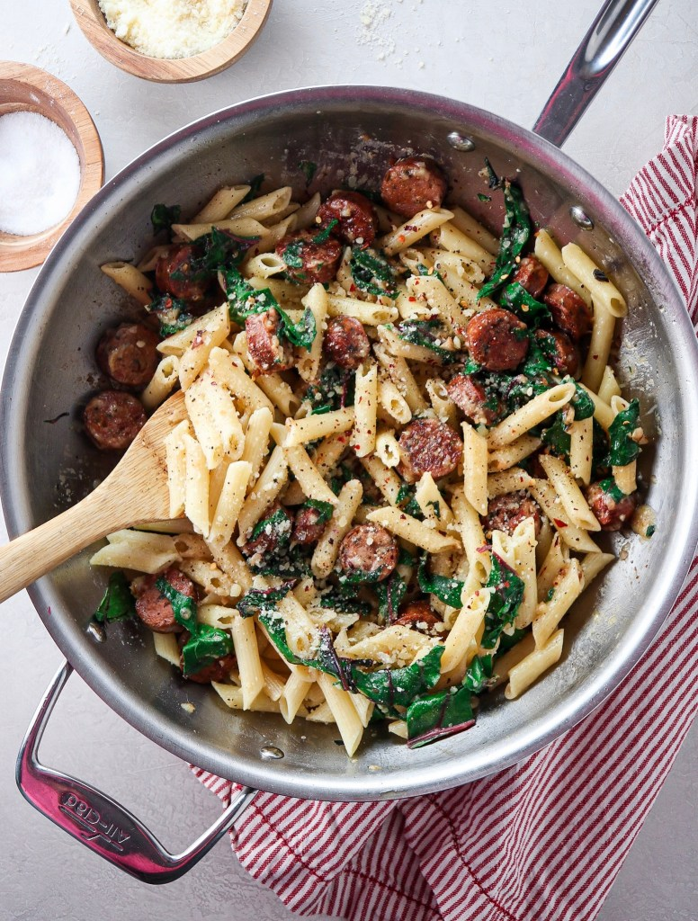 5 Ingredient Chicken Sausage and Rainbow Chard Penne