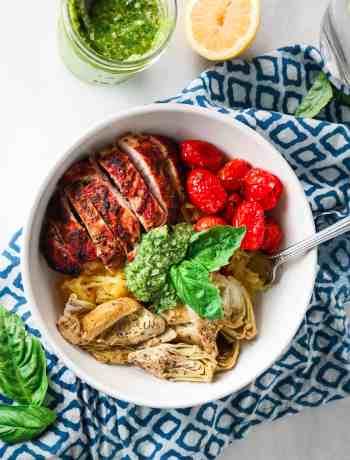 Spaghetti Squash with Roasted tomatoes, artichokes, and basil pesto (meal prep)