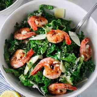 Kale Caesar salad with Spicy Shrimp