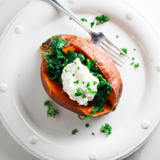 5 Ingredient Sweet Potatoes with Garlic Spinach and Whipped Ricotta