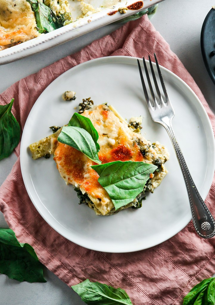 Cheesy Kale Pesto Lasagna (Freezer-Friendly!)