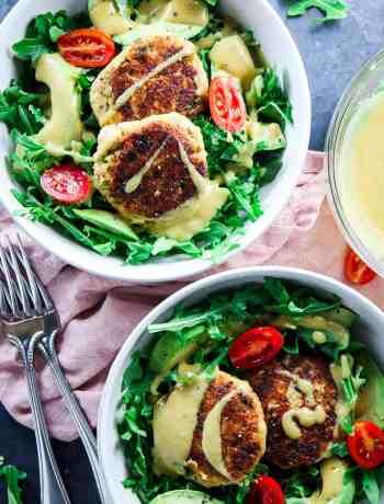 Salmon Cakes with Arugula Salad