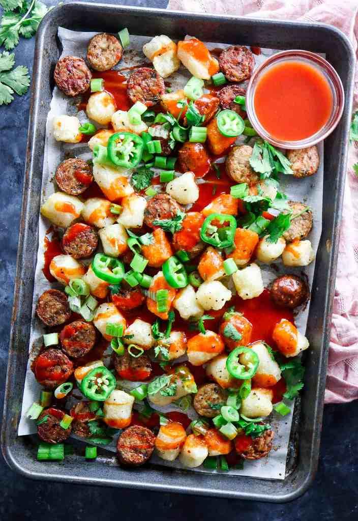 Sheetpan Buffalo Cauliflower Gnocchi & Chicken Sausage