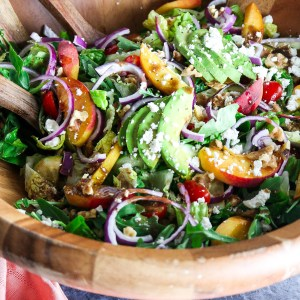 Summer Peach Salad with Avocado & Goat Cheese