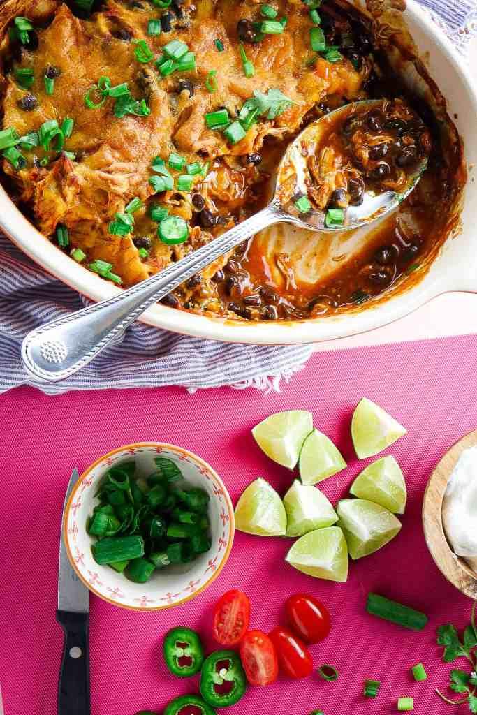 The Easiest Chicken Enchilada Bake