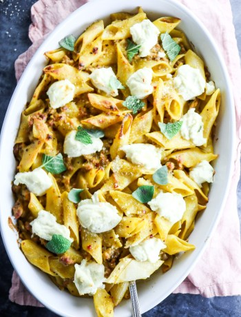 Spicy Pumpkin Pasta Bake