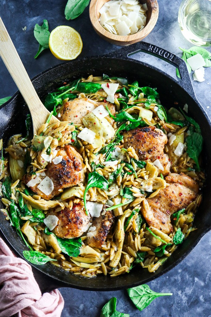 One Skillet Spinach and Artichoke Chicken with Orzo
