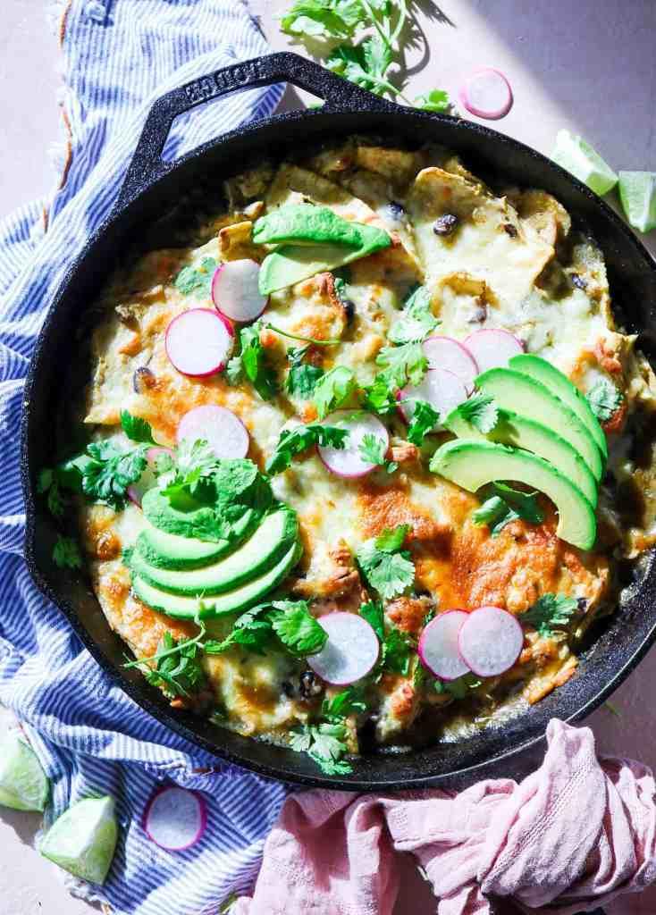 5 Ingredient Green Chile Chicken Enchilada Skillet