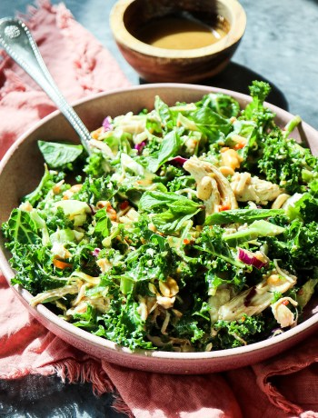 Honor Bar's Chicken Kale Salad with Peanut Vinaigrette (5 Trader Joe's Ingredients!)