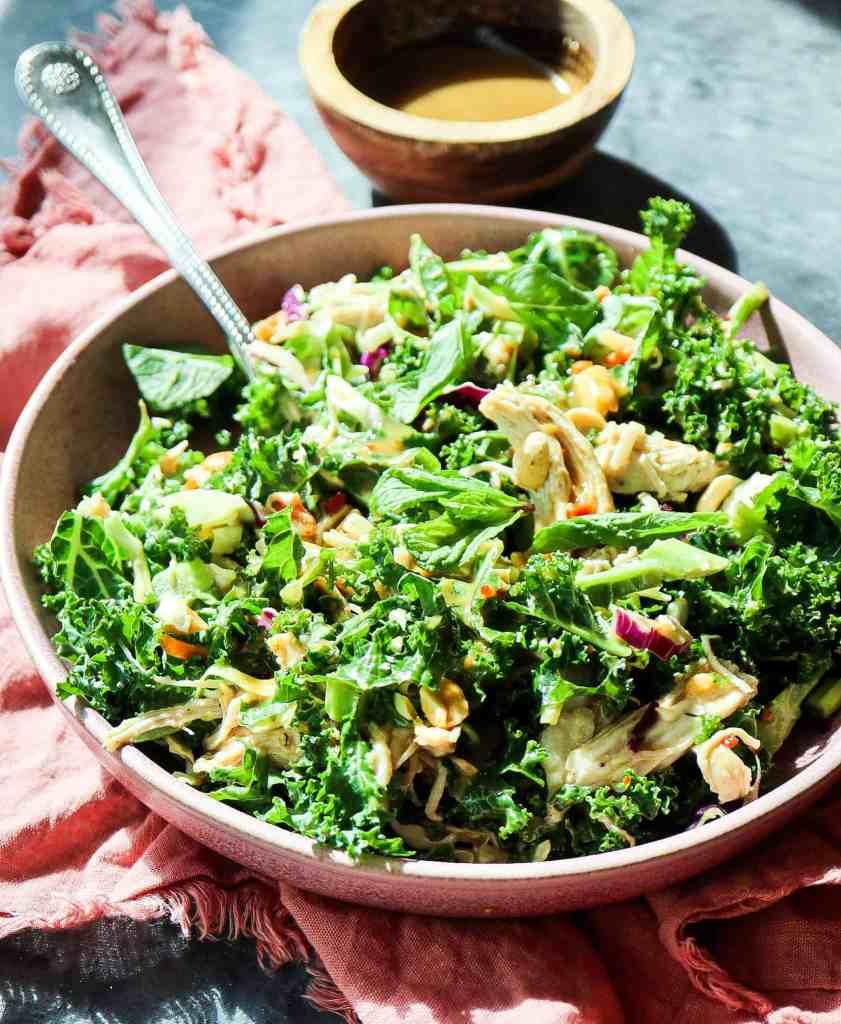 Honor Bar's Chicken Kale Salad with Peanut Vinaigrette (5 Trader Joe's Ingredients!)
