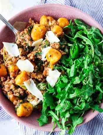 5 Ingredient Italian Sausage Sweet Potato Gnocchi Skillet