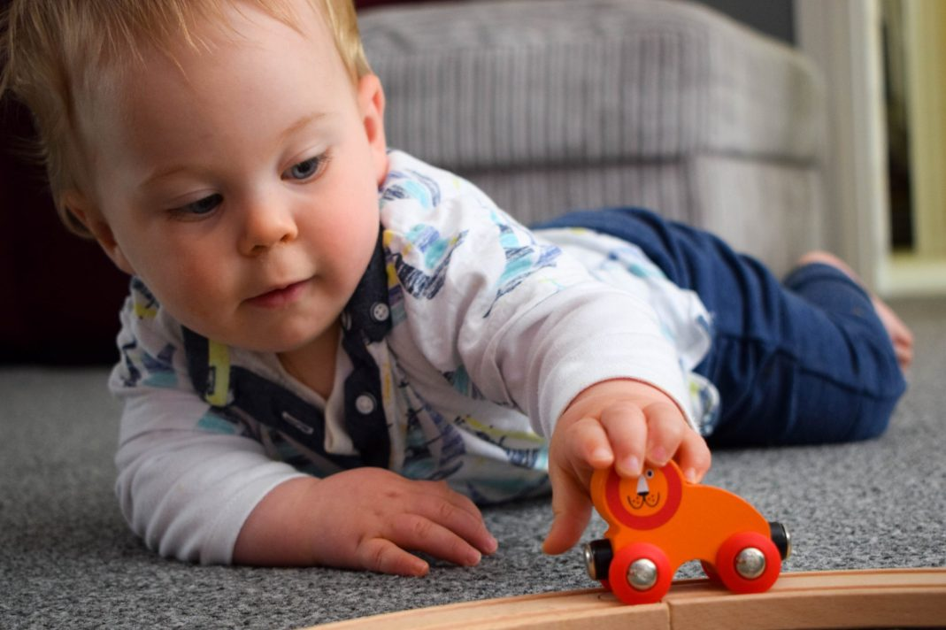 Hape train review - too tempting for baby brothers!