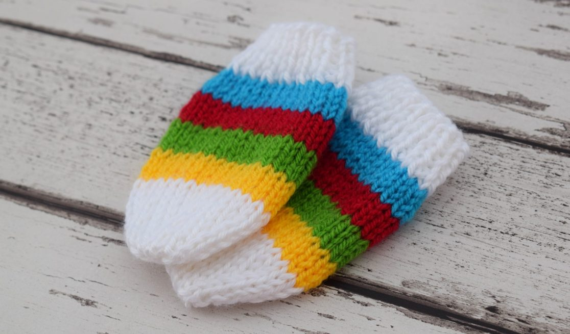 Free Knitting Pattern - Rainbow Baby Mittens - finished result