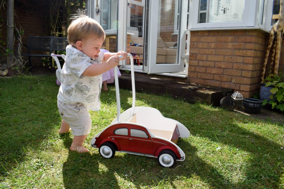 Hape Wooden VW Beetle Walker - in action