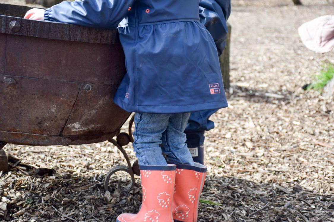 Staying Dry with Grass & Air - product review - coat and wellies in use
