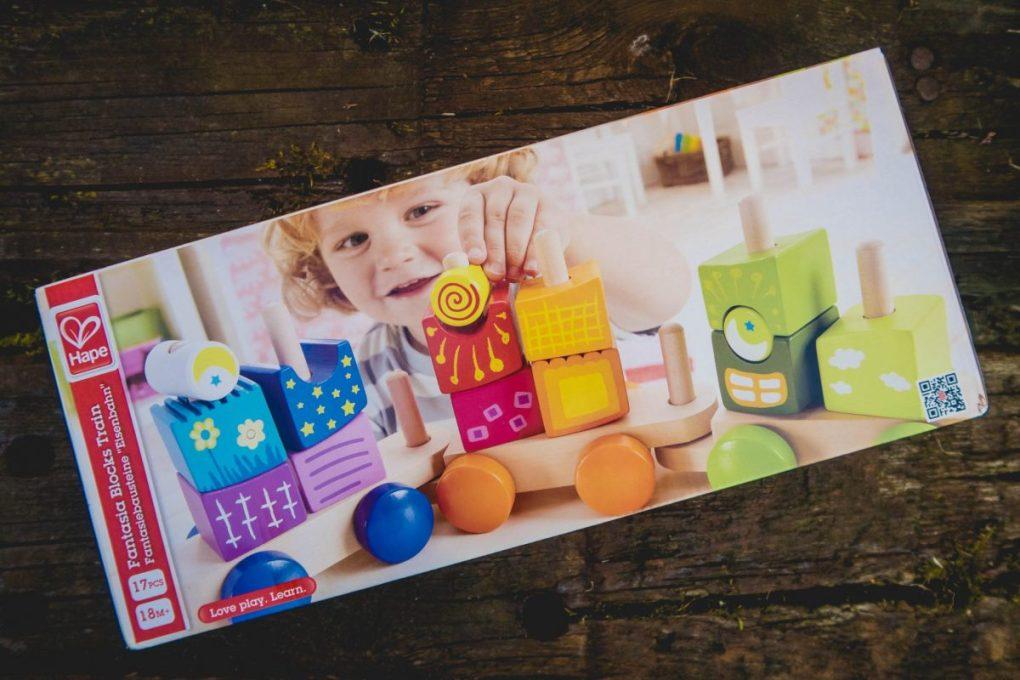 Hape Fantasia Blocks Train - in its packaging