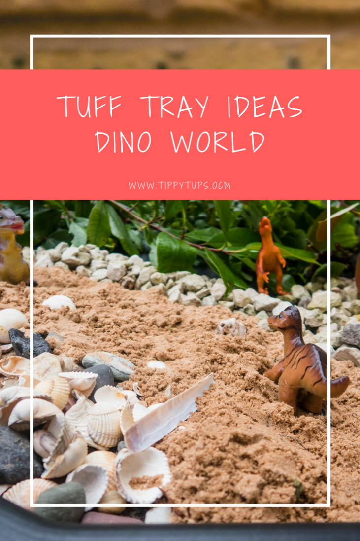 Tuff Tray Ideas - Dino World. Use your tuff tray to set up a jurassic world, perfect for imaginative play for kids of all ages: todder, pre-school or primary school children.