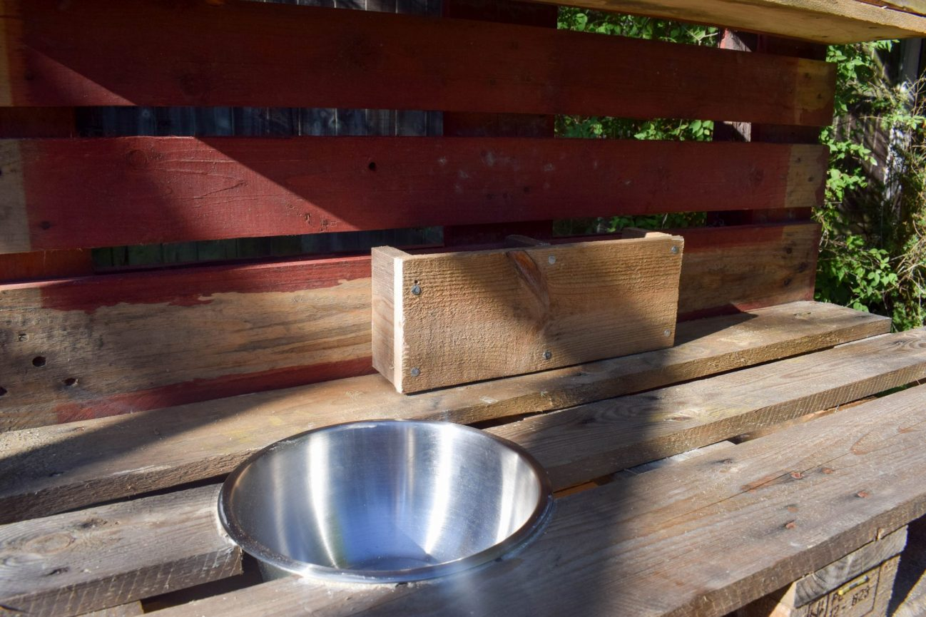 How To Make a Mud Kitchen - close up of bowl