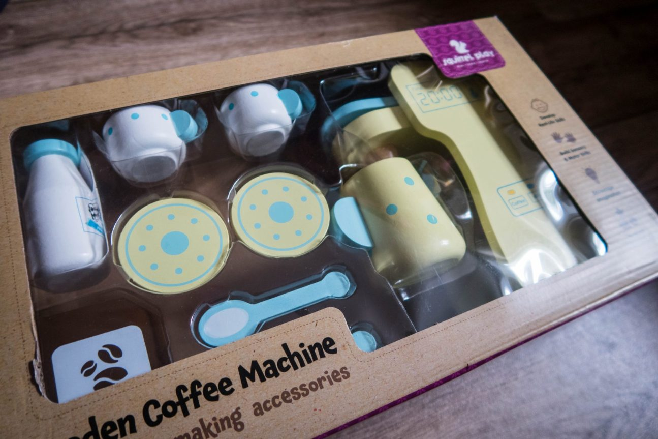 A Morning Coffee with the Squirrel Play Wooden Coffee Machine - in its packaging