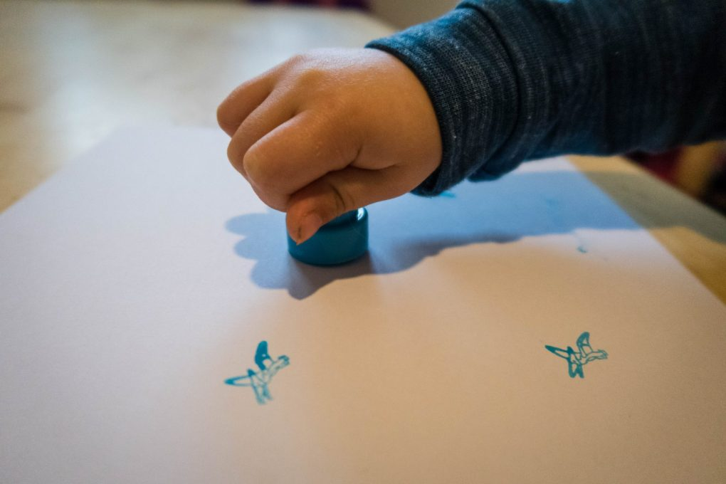 Dinosaur Crafts - dino stamps in action