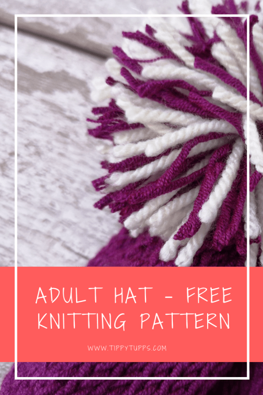 Free knitting pattern: a cute adult hat. A DK yarn weight combined with 5mm needles provides a nice and lightweight adult hat. The stockinette stitch gives it a rolled edge finish and a clean uniform appearance. The quick decrease gives it a gathered finish at the top making it a great match for a bobble finish.