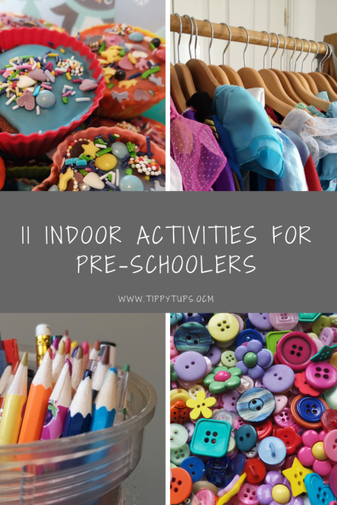 Indoor fun for kids: 11 ideas for indoor activities for pre-schoolers. Screen free and full of creative and imaginative play ideas.