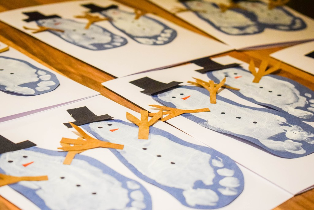 finished snowman cards drying