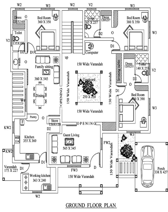 Four bedroom house plans in kerala for 3200 sq ft house plans
