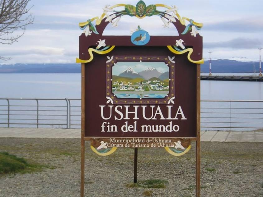 Cartello di Ushuaia El Fin del Mundo nella Tierra del Fuego