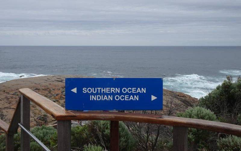 Incontro dell'Oceano Indiano con l'Oceano Meridionale (Antartico) a Cape Leeuwin