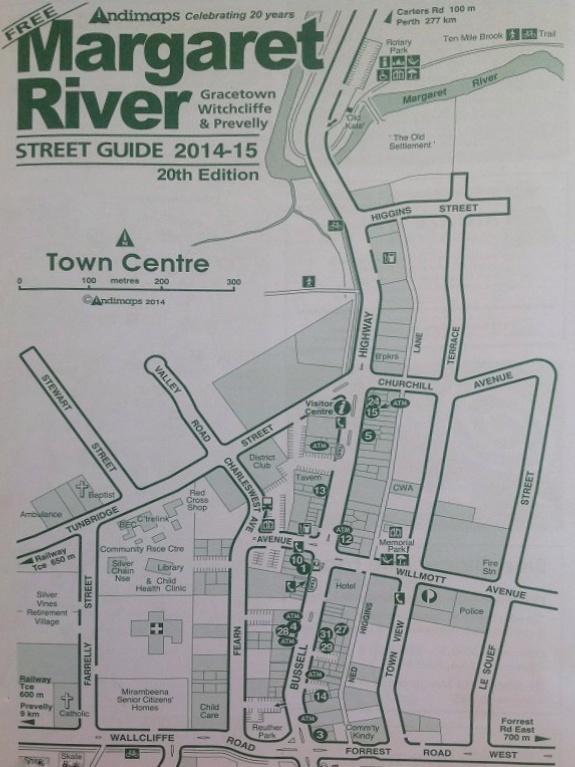 Mappa centro città di Margaret River