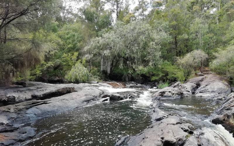 Percorso lungo il torrente alle Cascades
