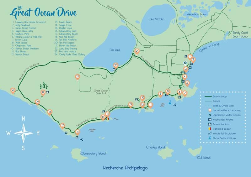 Mappa della Great Ocean Drive di Esperance