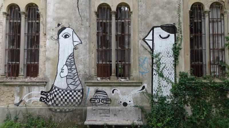 Murales nel Cortile del Padiglione Ferri dell'Ex Manicomio di Volterra