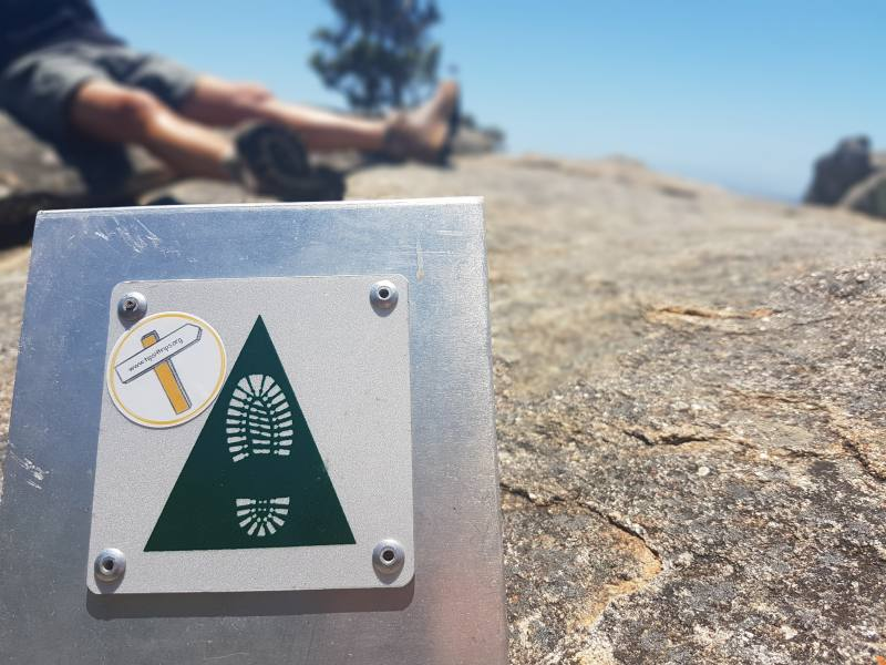 Adesivo Tips4tripS sulla cima del Frenchman Peak