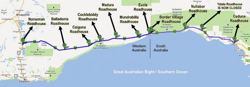 "Mappa del Nullarbor Plain presa dal sito ""Nullarbour Roadhouse"""