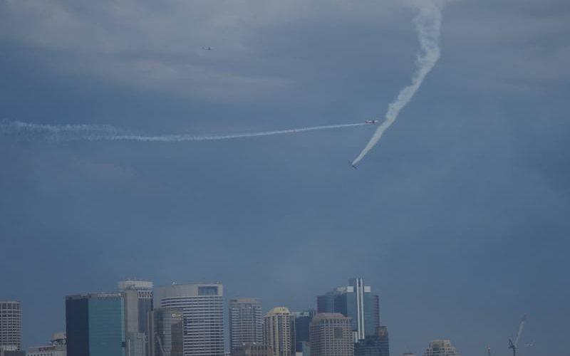 Spettacoli aereonautico durante l'attesa del Capodanno di Sydney