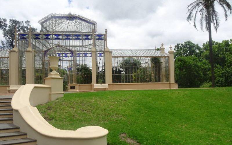 Palm House (Tropical House) nel Giardino Botanico di Adelaide visto da fuori