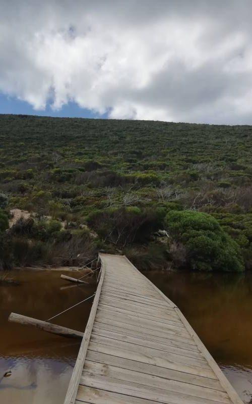 Ponte di legno sbilenco alla fine del trekking Ravine des Casoars a Kangaroo Island
